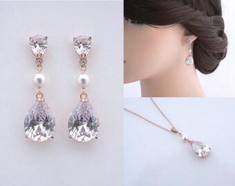 Theodora - Bridal Earrings + Necklace SET, Wedding Earrings, Simple Chic Bridal Earrings, Crystal Teardrop Earrings, Pearl Bridal Jewelry