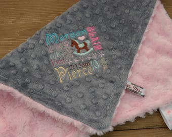 Minky Tag Blanket... Personalized Birth Announcement Baby Blanket For Girl... Security Blanket... Lovey Blanket