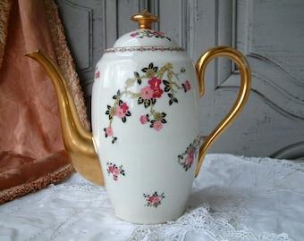 Antique french Limoges art deco tea pot. Limoges art deco coffee pot. Pink black gold teapot. Art deco Chinoiserie style. Limoges tea pot