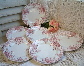 Set of 6 Antique french red transferware plates. French transferware. Jeanne d'Arc living. Gustavian home. french shabby chic. Tea plates