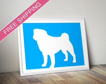 Pug Print - Pug Silhouette (Version 3), Pug art, dog portrait, modern dog home decor