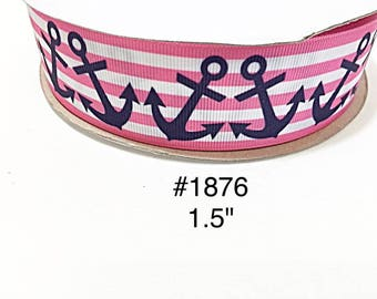 """3 or 5 yard - 1.5"""" Nautical Royal Blue Anchor on Pink and White Striped Grosgrain Ribbon Hair bow Craft Supply"""
