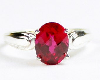 Created Ruby, 925 Sterling Silver Ring, SR058