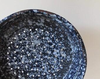 Blue White Splatter Enamelware Strainer - Enamel - Country - Rustic - Farm House - Decor - Black Trim - Shabby Chic