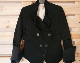 Vintage black blazer jacket size 40/42 brand MARITHE'+FRANCOIS GIRBAUD made in France Ooak