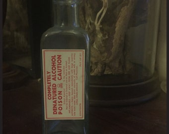 Antique Triangular Bottle with Completely Denatured Alcohol Poison Label - Cabinet of Curiosity