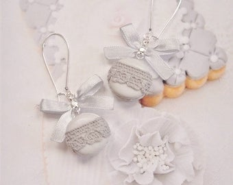 earrings macarons lace polymer clay