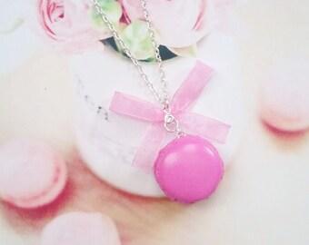 necklace raspberry macaron polymer clay