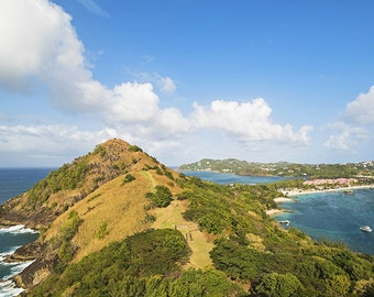 Pigeon Island looking down on Gros Islet, Saint Lucia, Caribbean, Saint Lucia, St Lucia, Gros Islet Beach, Pigeon Island, Saint Lucia Print