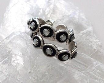Vintage Moonstone and Sterling Silver Hoop Earrings - Moonstone Shadow Box Hoop Earrings
