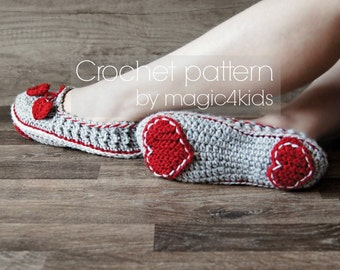 Crochet pattern- women slippers,loafers,home shoes,for women,girls,adults,medium thickness yarn,feminine look,soles pattern included,heart