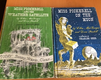 Hard Cover Vintage Books  Miss Pickerell on the Moon & the Weather Satellite Ellen MacGregor Dora Pantell Charles Greer