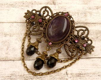 Gemstone hair barrette with amethyst in purple black bronze gothic hair accessories pearls hair accessories for her