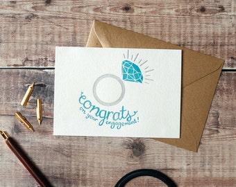Congrats Engagement Ring Letterpress Card