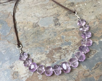 Lavender Amethyst Necklace, Amethyst Choker, adjustable from 16 to 26 inches