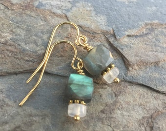Labradorite and Moonstone Earrings with Gold Vermeil, 1 inch long.