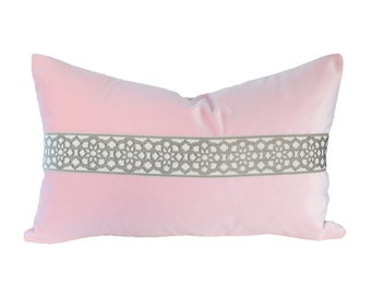 READY TO SHIP - 11x19 Ballet Pink Velvet Designer Lumbar Pillow Cover with Decorative Tape Trim (for 12x20 insert)