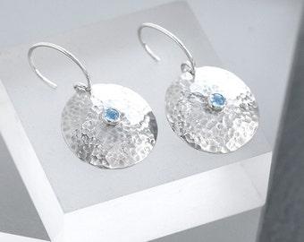 Topaz Jewellery, Topaz Earrings, Silver Earrings with Blue Topaz, Textured Domed Earrings with Topaz, December Birthstone Gift for Her