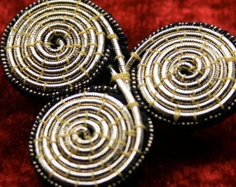 Embroidered Triple Spiral Brooch