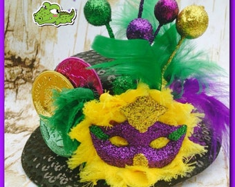 Mardi Gras Mini Top Hat Mardi Gras Ball Party Hat Mini Hat Fascinator Mardi Gras Mini Party Hat Mardi Gras Hair Clip