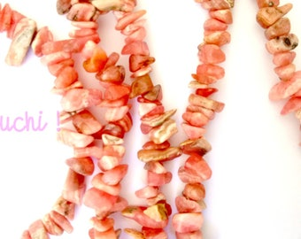 Rhodocrosite chip necklace 85 cm around the neck and double clasp