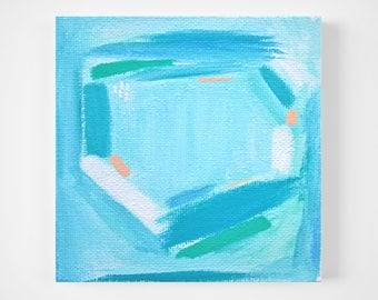 aqua, blue and peach abstract painting - tiny painting - modern minimal art - mini art