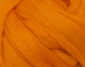 Dyed Merino - Tangerine - Solid color commercial dyed - combed top roving spinning felting fiber fibre arts - orange red