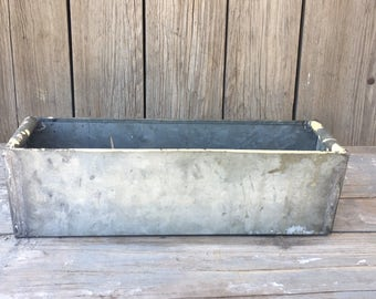 vintage metal box, galvanized tin box