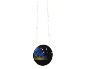 Constellation Mini Round Necklace - Custom Made Space Science Jewelry