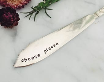 mother's day - Cheese Please - hand stamped master spreader or cheese knife