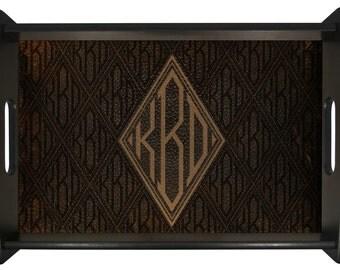Serving Tray Monogram Leather Design Decor Wall Art
