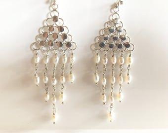 Sale!!! Vintage Sterling and Pearl Dangle Earrings