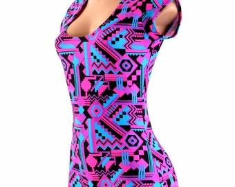 Neon Pink & Black Aztec Print UV Glow Cap Sleeve Romper Bodysuit Onsie (No Hood) Rave Festival Clubwear 154064