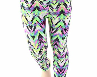Kids UV Glow Chevron Candy Sparkly Leggings Childrens and Girls Sizes 2T 3T 4T and 5-12 - 154110