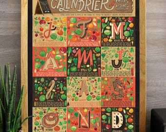 Affiche A2 - Calendrier des fruits et légumes de saison (Illustrated Art Print)