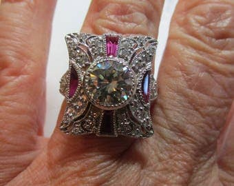 Ladies moissanite 2ct with accents antique style sterling silver outstanding ring
