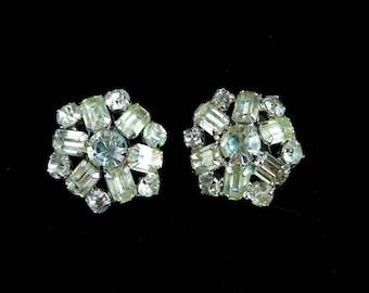 Weiss Rhinestone Earrings, Vintage Snowflake Earrings, Signed Weiss Jewelry Crystal Clip-on Earrings, Bridal Earrings