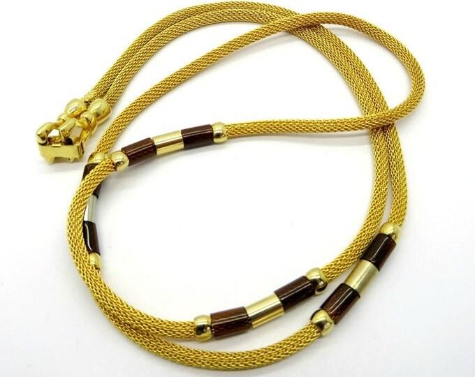 "Vintage Gold Mesh Necklace, Gold Tone Tube Necklace, 30"" Length"