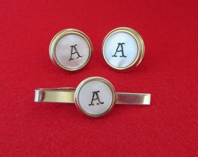 Monogrammed A Cufflink & Tie Bar Set, Vintage Mother of Pearl Gold Tone Men's Suit Accessory