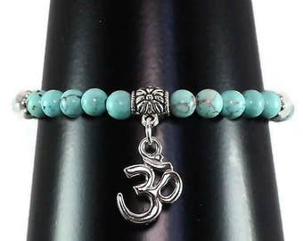 Om Bracelet, Yoga Bracelet, Om Yoga Bracelet, Turquoise Bracelet, Women's Yoga Bracelet, Intention Jewelry, Gift for Her, Mom Gift