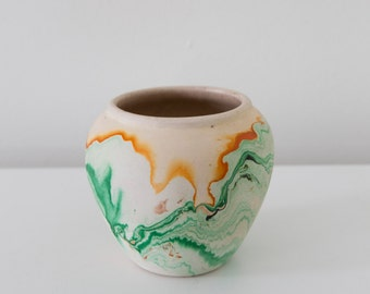 Green + Gold Nemadji Ceramic Vessel