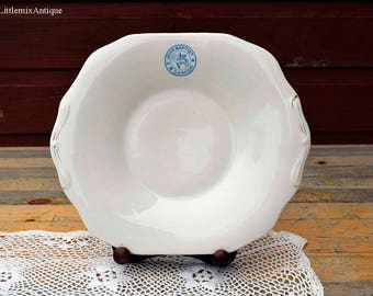 Antique Crown Chelsea China T Morris Made in England 'S.John Baptist Gannow' White Cake Plate/Serving Sandwich Plate Retro English Chinaware