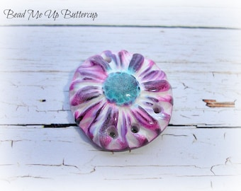 1 Pink Lilac & Cornflower Blue Textured Daisy Flower Faux Ceramic Polymer Clay Pendant Connector