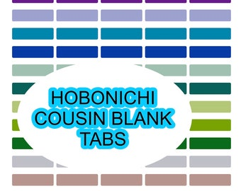 Printable PDF Hobonichi Cousin Blank Color Coding Tabs || Downloadable planner stickers Perfect for Hobonichi Cousin