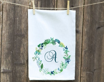 Wreath Floral Kitchen Towel Flour Sack Spring-Tea-Dish-Hand-Kitchen-Blue Flowered Wreath-Choose Initial