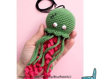 Zombie Jellyfish - crochet amigurumi toy. OOAK doll.