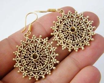 Brass Flower Earrings, Boho Earrings, Flower Brass Earrings, Tribal Earrings, Boho Fashion Earrings, Floral earrings, Brass Earrings SH-3275