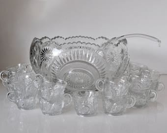 Vintage Glass Punch Bowl Set Pinwheel & Stars Smith Glass