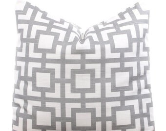 SALE ENDS SOON Gray Throw Pillows, Geometric Pillow Covers, Gray and White, Decorative Pillowcases, Soft Cotton Bedding