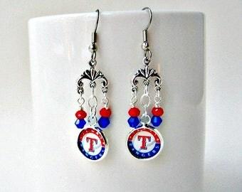 Texas Rangers Baseball Earrings, Baseball Earrings, Texas Rangers Earrings, Texas Rangers Jewelry, Rangers Accessories, Rangers Earrings,